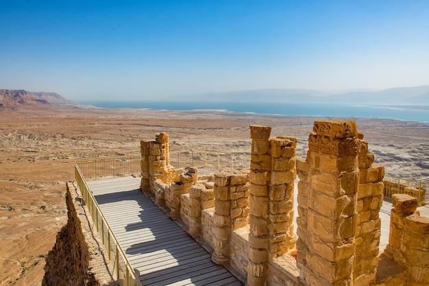 Balcony in the masada ruins near the dead sea in israel