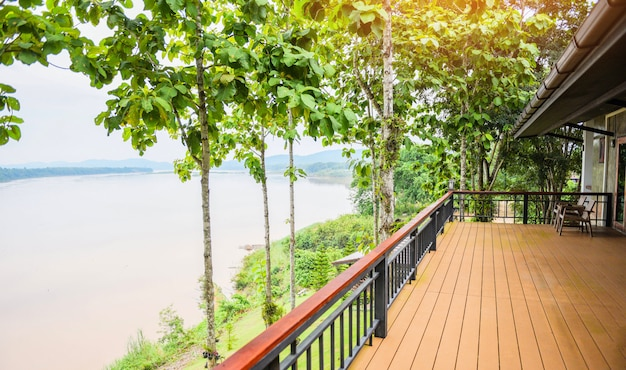 Balcony and nature green tree forest