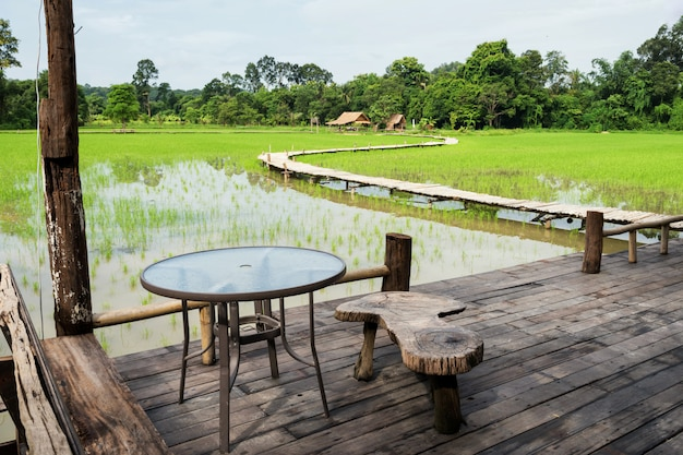 Balcony seat to see paddy rice field