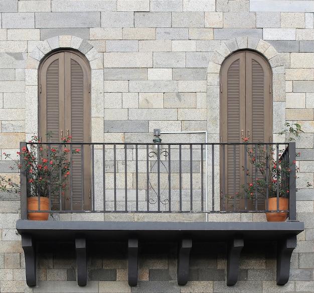 Balcony with pots