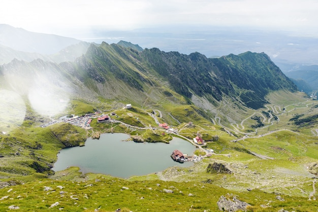 Balea lake and serpentine road in fagaras mountain
