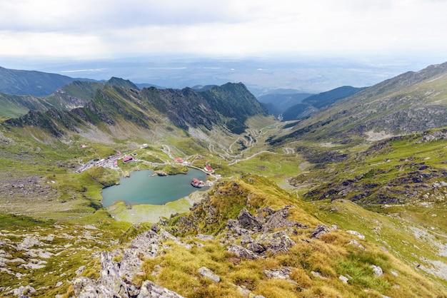Balea lake and serpentine road in fagaras mountains