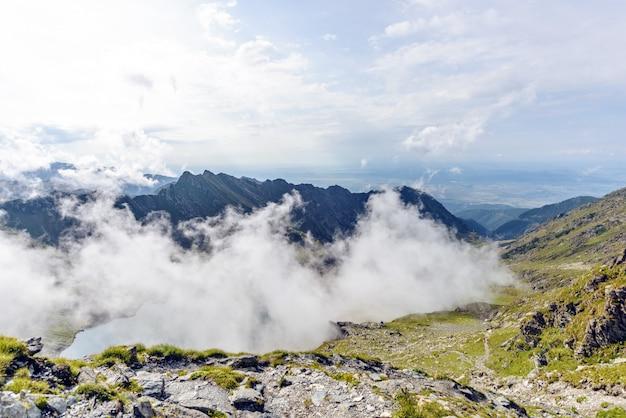 Balea lake with clouds