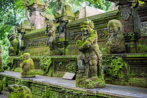 Balinese temple covered with moss, indonesia