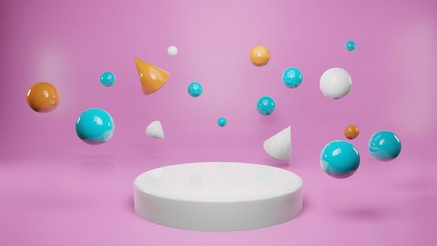 분홍색 배경에 연단 주위에 떠있는 공 및 원뿔 모양. 제품 발표, 광고, 3d 렌더링
