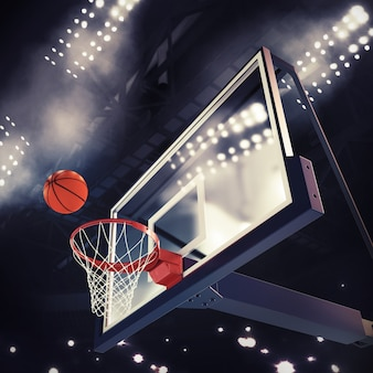 Ball above the basket during basketball game