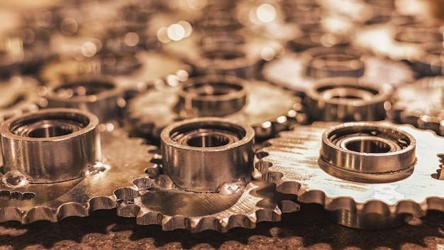 Ball bearings and gears in the concept of machinery closeup