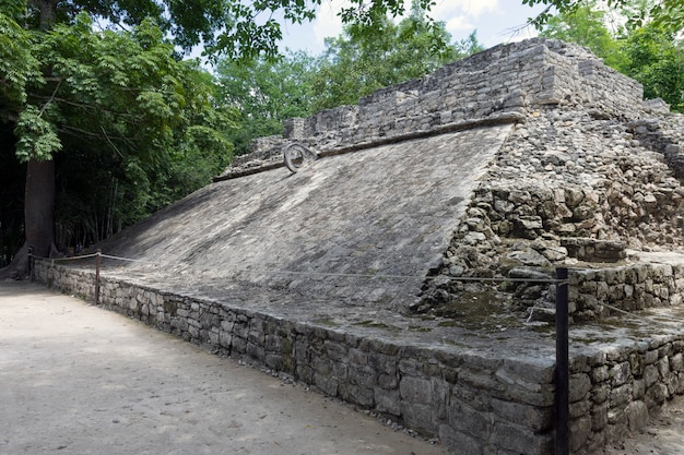 Ball court in the ancient mayan city of coba in mexico