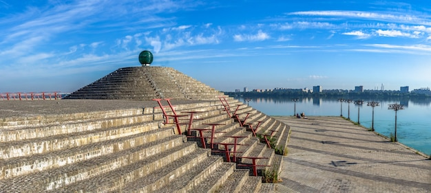 Ball of desires on the dnipro embankment in ukraine on a sunny summer day