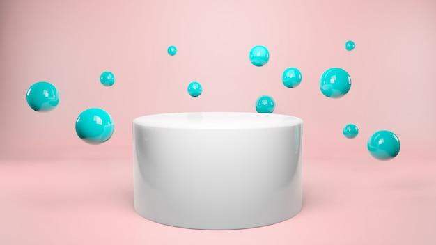 파스텔 핑크 배경에 연단 주위에 떠있는 공. 제품 발표, 광고, 3d 렌더링