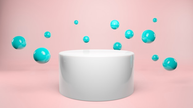 Ball floating around podium on pastel pink background. product presentation,  advertising,  3d rendering