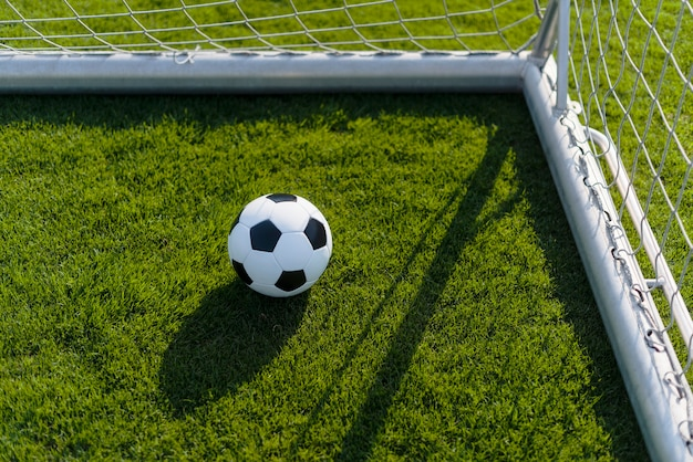 Ball in goalpost on soccer field