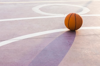 Ball in the basketball court