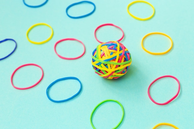 Ball or knot of thin multicolored elastic bands