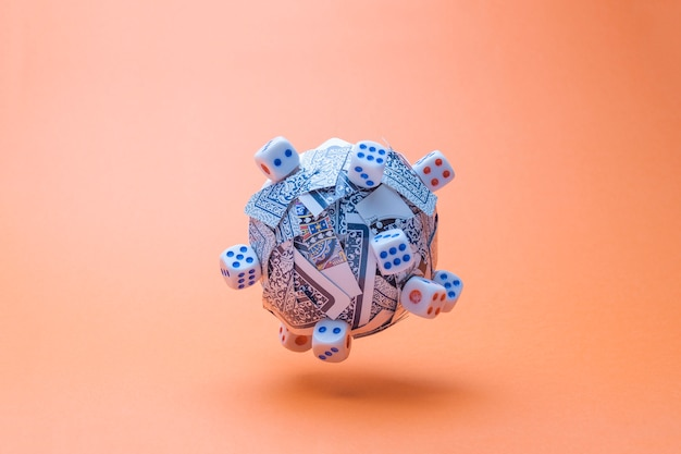 Ball made of cards and dices