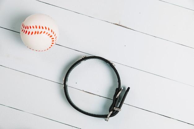 Ball near dog collar