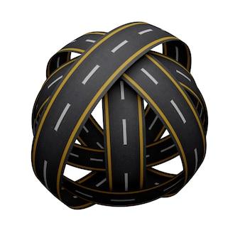 分離された道路の球