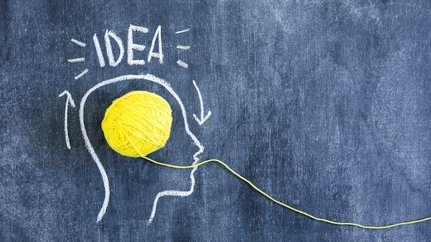アイデアのテキストとアウトラインの顔を持つ黄色の糸のボールを黒板に