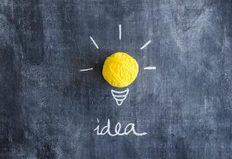 Ball of yellow yarn with idea text on chalkboard