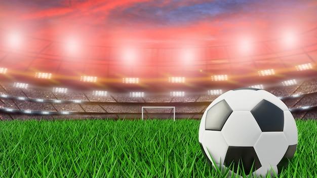 サッカー場のボールと明るいスポットライト。 3dレンダリング