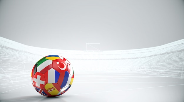 Ball with europe countries european flags with outline stadium .3d rendering
