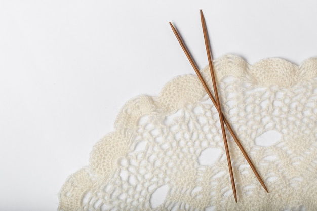 Ball of yarn and knitting