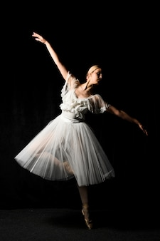 Ballerina dancing in tutu dress with pointe shoes