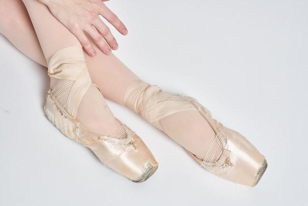 バレリーナの足のクローズアップ