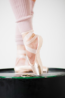 Ballerina legs in pointe shoes close up on a white background