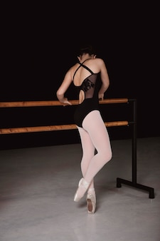 Ballerina in leotard and pointe shoes
