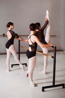 Ballerinas rehearsing while wearing leotards and pointe shoes