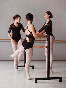 Ballerinas rehearsing while wearing leotards