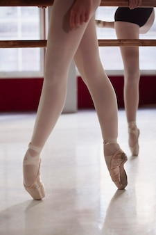Ballerinas rehearsing while wearing pointe shoes