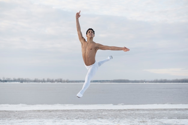 Ballet dancer executing elegant pose