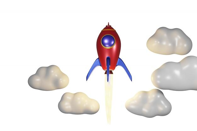クラウド3dレンダリングで弾道発射赤いロケット