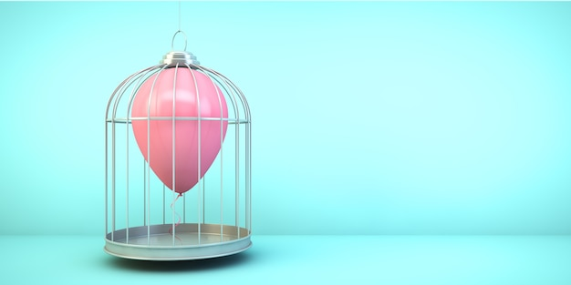 Balloon on a cage concept 3d rendering