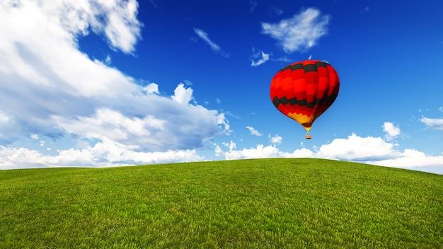 Воздушный шар на лугу