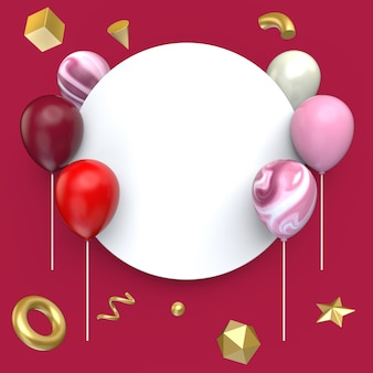 Balloon with blank banner style and gold geometry shape, 3d illustration.