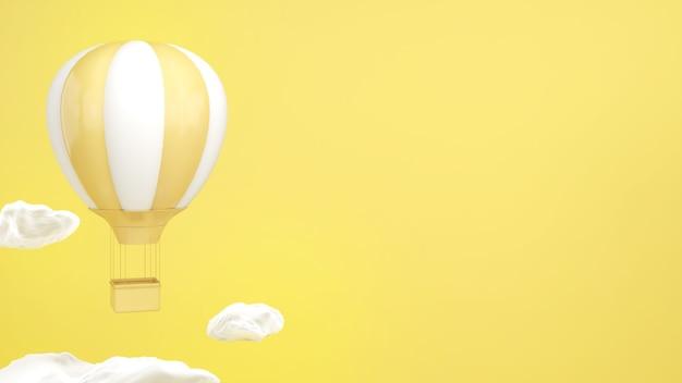 Воздушный шар с желтыми и белыми полосами, плавающий в небе и белых облаках, яркие мысли
