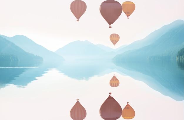 위의 풍선 . 자연 배경 여행. 여행 자유 비행