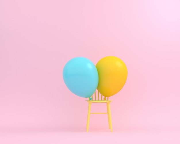Balloons blue and yellow pastel with yellow chair on pink background.