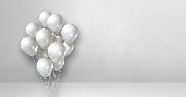 Balloons bunch on a white wall background. horizontal banner. 3d illustration render