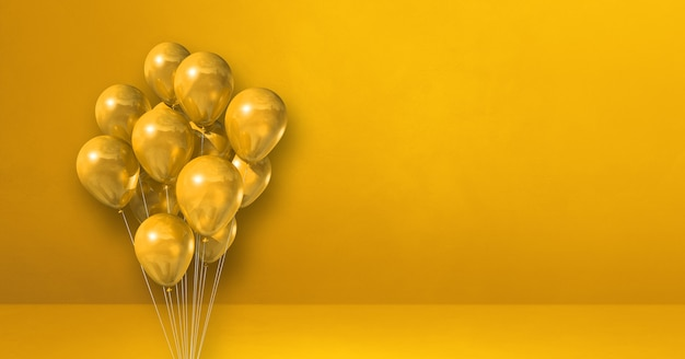 Balloons bunch on a yellow wall background. horizontal banner. 3d illustration render