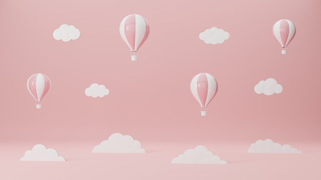 Balloons float up in the pink sky. air travel and aircraft. tourism concept. 3d rendering illustration.