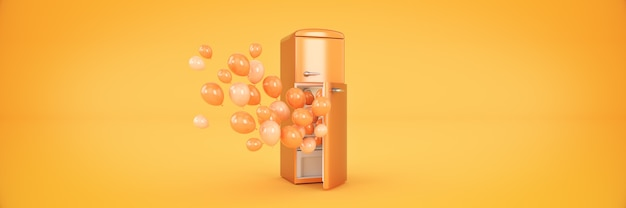 Balloons and fridge freezer 3d rendering