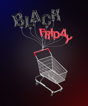 Balloons in the shape of the letters black friday tied to a shopping cart 3d rendering