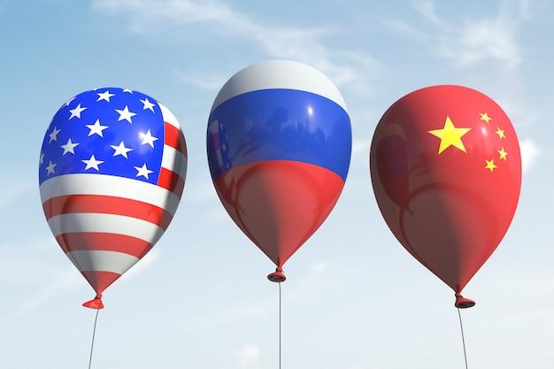 미국, 러시아 및 중국 기호가 있는 풍선.