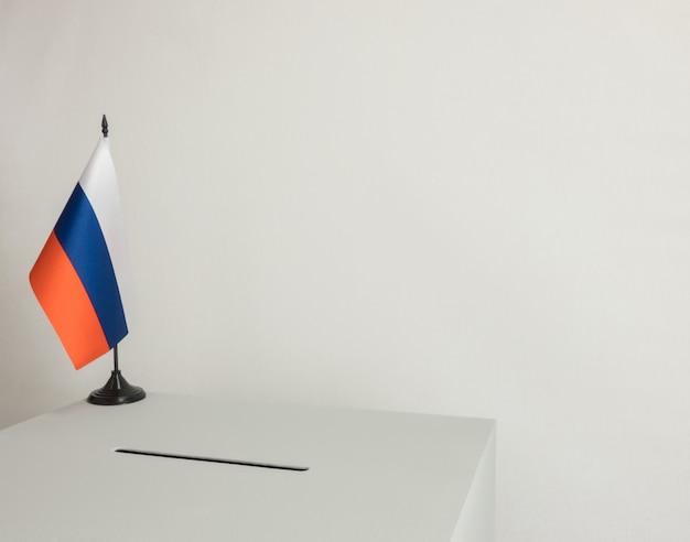 Ballot box with national flag of russia. presidential election in 2018
