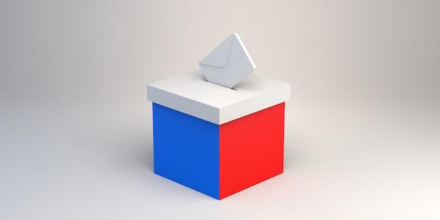 Урна с красным и синим цветами и конверт баннер для выборов и избирательной кампании
