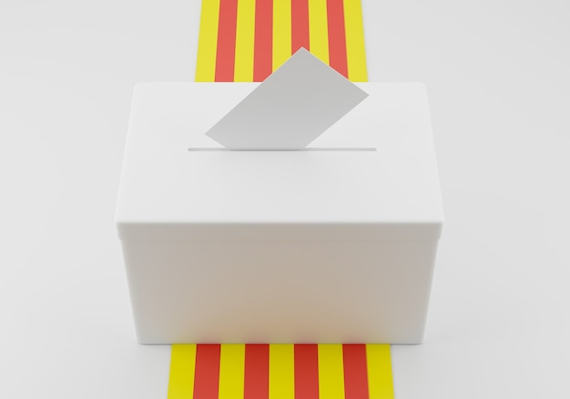 Ballot box with a voting envelope in the slot ready to vote. catalonia flag